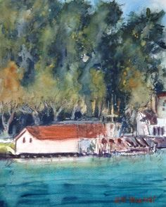 """"""" Marina West Harbor """"Watercolor Original Painting Signed 11"""" x 14""""  NOT A PRINT #Realism"""