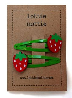 Lottie Nottie Hairclips Strawberry on Green - £3.99 - A great range of Lottie Nottie Hairclips Strawberry On Green - FREE Delivery over £25!