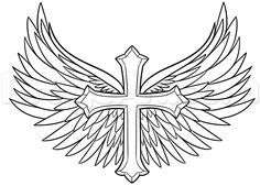 how to draw a cross with wings step 6