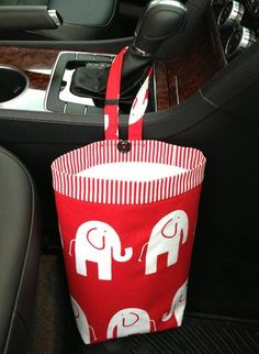 Car Trash Bag ~ Red Elephant ~ Red/ White Striped Band ~ Gearshift Handle ~ Oilcloth Lining