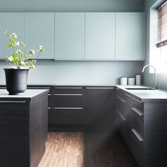 the promise of a blue kitchen - Ikea Black Kitchen Cabinets