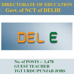 Delhi Education Dept Recruitment 2016 | 1478 Posts | TGT Jobs | Sarkari Naukri