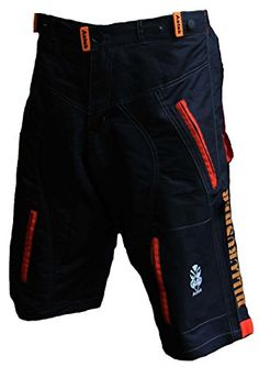 Astek Men's Orange Black MTB BMX Baggy Padded Mountain Bike Shorts (Medium)