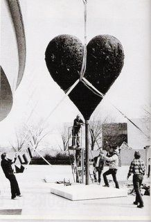 Hoisting a Jim Dine heart