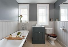 An inspirational image from Farrow and Ball. Light Grey panelling and mirror wall love.