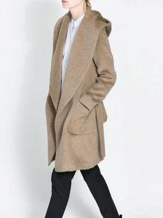 Brown Waterfall Hooded Coat In Wool