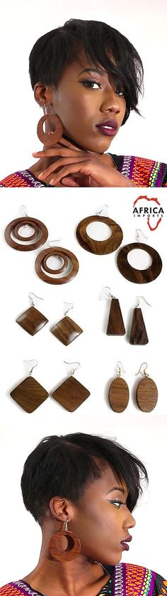 Set of hand carved wooden earrings - These bold hand carved wooden earrings come in a set of six, so whether you want something large and bold or small and understated, this set covers it all!  Each earring is hand carved from a piece of solid wood, so no one set is the same.  Each one of a kind earring has bold wood grain lines that give a natural feel.  #africa #african #wooden #earrings #accessorize #accessories  #africanamericanstyle #style #fashion #africanamericanfashion…