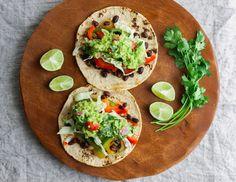 Easy + amazing entree. Black Bean Fajitas + Guacamole x