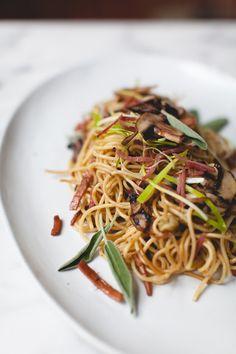 Prosciutto Leek and Mushroom Spaghetti Recipe | coco+kelley