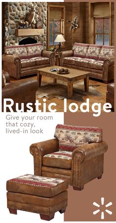 Give your home some old rustic charm and comfort with must-have furniture from the Rustic Lodge collection at Walmart.com. Boasting everything from cozy blanketsand pillows to sofas, storage and more—you'll find everything you need to bring the outdoors in. Shop the look today. Western Furniture, Rustic Furniture, Lodge Furniture, Repurposed Furniture, Furniture Ideas, Country Decor, Rustic Decor, Farmhouse Decor, Log Homes