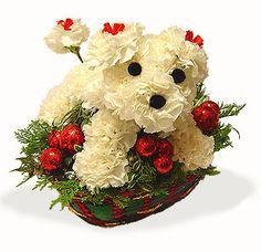 Christmas Flower Puppy Dog