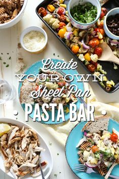 Create your own healthy summertime pasta bar! This is such a fun day. Plus, the kids love loading their plates with veggies.