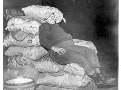 Eli Camel, an Old Market vendor, takes a break by resting on sacks of potatoes in this photo from 1937.