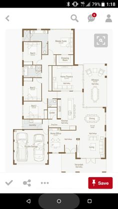 Love this for a one level- but I'd still want a basement and wouldn't mind a larger garage.hard to loose all that space considering the size of our current garage. 4 Bedroom House Plans, New House Plans, Dream House Plans, Modern House Plans, House Floor Plans, My Dream Home, Home Design Plans, Plan Design, House Blueprints