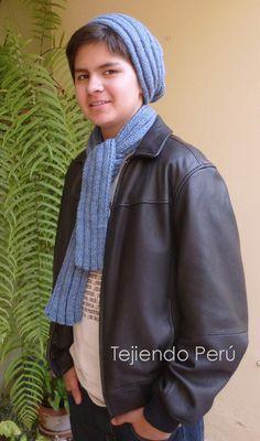 Boina caída y bufanda tejidas en dos agujas para hombres! Rain Jacket, Bomber Jacket, Textiles, Headbands, Knitted Hats, Scarves, Windbreaker, Knitting, Cowls