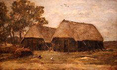 Sientje Mesdag-van Houten (1834 - 1909) Boerderij met kippen Olieverf op doek 49 x 79 cm