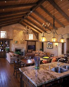 Superior Family Room Allowance Photo 1  Rustic Beams With Brackets At Ceiling Break.  Also. Mediterranean Living RoomsMediterranean DecorTuscan ...