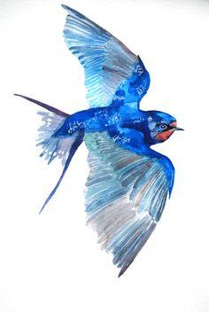 Watercolor Painting Original Painting Bird Painting by WoodPigeon, $28.00