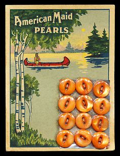"""American Maid Pearls"" ~ Vintage Mother of Pearl Buttons in Orange on Original Card . Vintage Sewing Notions, Vintage Sewing Machines, Vintage Sewing Patterns, Button Cards, Button Button, Sewing Tools, Sewing Art, Sewing Ideas, Sewing Projects"