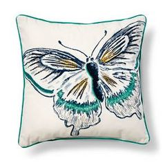 Embroidered Butterfly Throw Pillow - Blue – Threshold™ : Target
