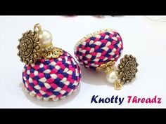 How to make Silk Thread Jhumkas (Braided) with Antique Studs at Home | Tutorial - YouTube