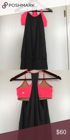 Lululemon Gray and Hot Pink Tank Top Barely worn Lululemon gray tank with built in hot pink sports bra. Very pretty combination. Like new! lululemon athletica Tops Tank Tops