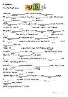 A lucky day / a bad day worksheet - Free ESL printable worksheets made by teachers English Grammar Tenses, English Grammar Worksheets, English Verbs, Reading Worksheets, Grammar Lessons, English Writing, English Vocabulary, Teaching English, Spanish Grammar