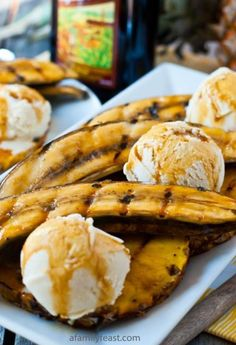 "Grilled Bananas and Pineapple with Rum-Molasses Glaze    ""You and your guests will fall in love with the sweetness that comes from the grilled bananas and pineapple – and combined with the warm, buttery flavors in the rum-molasses glaze…this is a scrumptious taste of the tropics in your own back yard!"" full recipes   Continue reading...    The post  Grilled Bananas and Pineapple with Rum-Molasses Glaze  appeared first on  Kitchen Fun with Jamie Dunn .    http://kitchenfunwithjamied.."