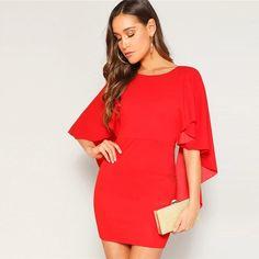 Women Glamorous Sexy Open Back Cloak Sleeve Mini Night Out Party Dress #BodyconDresses #MiniDress #PartyDress #Glamorous #NightOut #Clubwear #Sexywear #ValentinesDay #likeforlike #followme