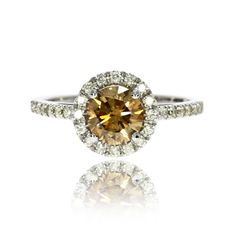 Diamond Engagement Ring 14K White Gold Round Cut 1.37 Carat Fancy Brownish Color #MyDiamonds #SolitairewithAccents