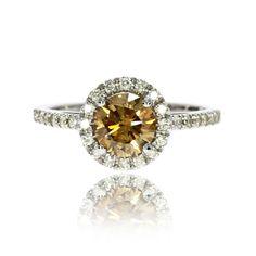 Brown Diamond Engagement Ring Enhanced 1.37 Carat 14K White Gold Halo Pave…