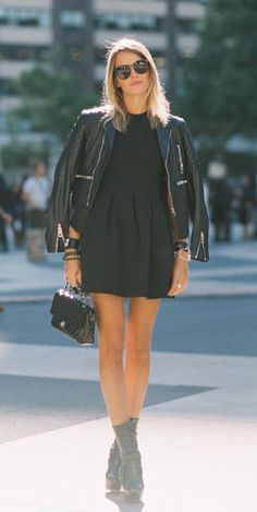 LBD with quilted leather jacket & black booties- chic street