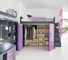 Purple and amazing loft bed/closet bedroom