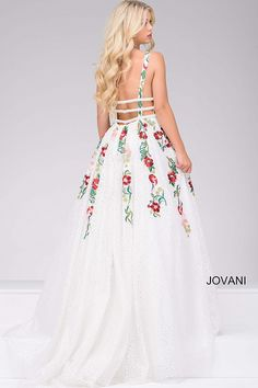 Ivory and Multi Embroidered V-Neck Prom Dress 48891