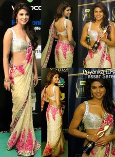 Priyanka Chopra In Beige Net Designer Saree At IIFA Award 2009. You Can Buy This Saree Here --- http://www.gravity-fashion.com/10461-priyanka-chopra-in-beige-net-designer-saree-at-iifa-award-2009-.html