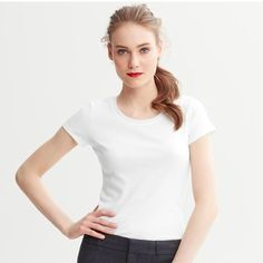 I would love crew neck tee like this one in light grey color. I bought Banana Republic in petite but the quality was not the best.