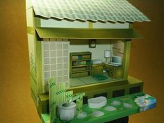 Japanese Classic Paper Doll House - by Paper Museum -- A delicate paper model of a doll house, in a classic Japanese style, by Paper Museum.papermau.blogspot.com