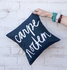 e8109f301 Carpe+Noctem+Pillow+12x12+inches+Navy+with+Teal+by+BrightJuly
