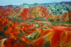 These remarkable pictures show the actual scenery of Danxia Landform at Nantaizi village of Nijiaying town, in Linzhe county of Zhangye, Gansu province of China. What A Wonderful World, Beautiful World, Beautiful Places, Amazing Places, Amazing Photos, Amazing Things, Beautiful Pictures, Zhangye Danxia Landform, Places Around The World