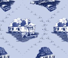 Trailer Trash Toile (Blue on Blue) wallpaper and fabric by seidabacon on Spoonflower - custom fabric