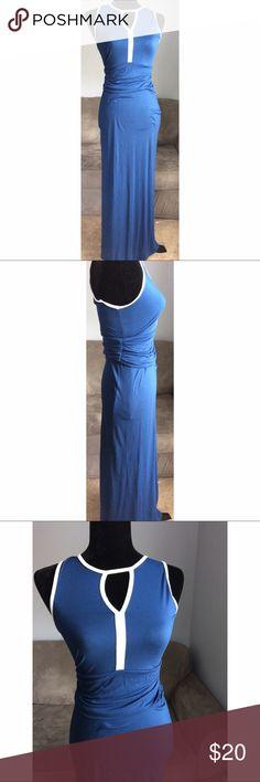 Venus blue maxi dress Elegant yet wearable, Venus blue and white maxi dress. Size XS. 96% viscose 4% elastane Venus Dresses Maxi