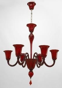 Modern Venetian Murano ruby red colored fluted glass 6 arm chandeliers with flared design cup shades and shaped stem with finial drop at bottom (PRICED EACH)
