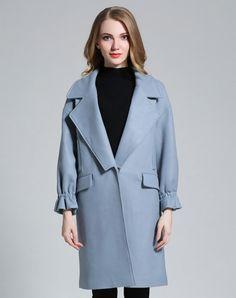 Light Blue Drop Shoulder Cowl Neck H Line Long Coat