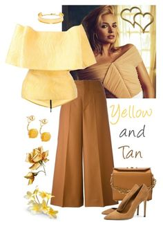 """""""Yellow and Tan"""" by giovanina-001 ❤ liked on Polyvore featuring Marni, Maticevski, BaubleBar, Lydell NYC, Alexander McQueen and Dee Keller"""