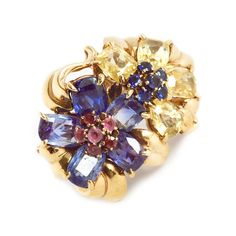 A Retro Sapphire and Ruby 'Hawaii' Ring, by Van Cleef & Arpels, circa 1940 #jewelry #fashion