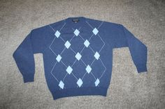Hathaway Platinum Mens Blue 100% Cashmere Argyle Sweater Sz Medium Made In Italy #Hathaway #Crewneck