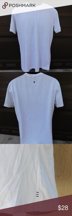 """MEN'S LULULEMON BASIC WHITE TEE SIZE M Brand- LULULEMON  Style- CREWNECK TEE  Size- MEDIUM 21"""" pit to pit, 27"""" centerline back  Color- WHITE  Material- COTTON  Features- CREWNECK  Condition- PRE-OWNED VERY GOOD, NO STAINS. I HAVE 3 OF THESE SHIRTS FOR SALE. lululemon athletica Shirts Tees - Short Sleeve"""