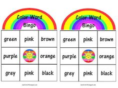 Color word bingo freebie