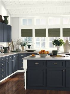 Benjamin Moore After Midnight CSP-630  kitchen island color idea.