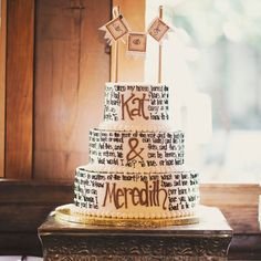 A Literary Quote Wedding Cake | Megan Burges Photography | blog.theknot.com